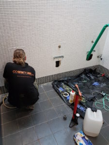 Relining 50mm urinal pipework at office buildings in St.Leonards