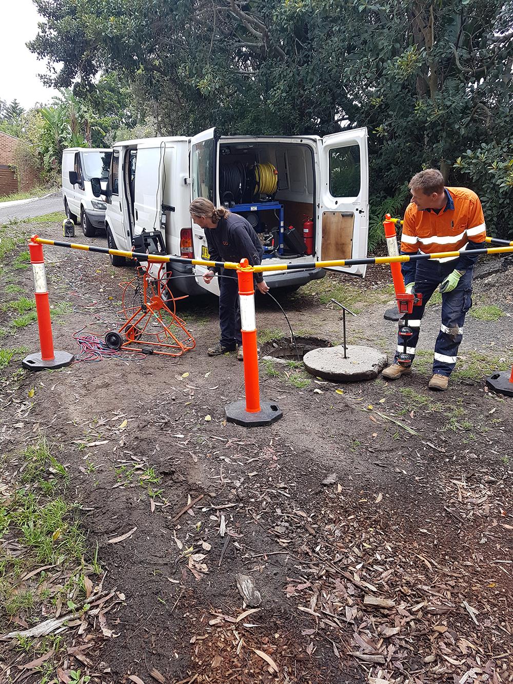 surveying sewer pipe